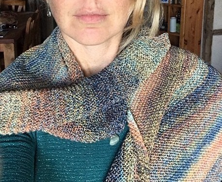sobrietytree author with 78-day shawl